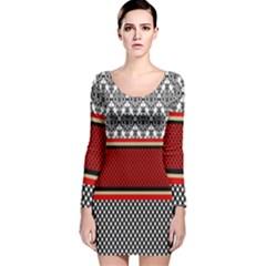 Background Damask Red Black Long Sleeve Velvet Bodycon Dress