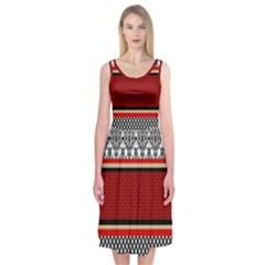 Background Damask Red Black Midi Sleeveless Dress