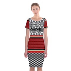 Background Damask Red Black Classic Short Sleeve Midi Dress