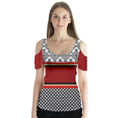 Background Damask Red Black Butterfly Sleeve Cutout Tee
