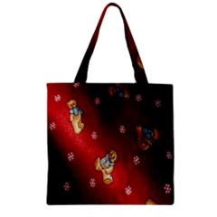 Background Fabric Zipper Grocery Tote Bag