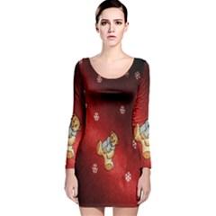 Background Fabric Long Sleeve Velvet Bodycon Dress