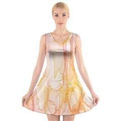 Background Modern Computer Design V Neck Sleeveless Skater Dress