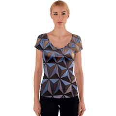 Background Geometric Shapes Women s V-Neck Cap Sleeve Top