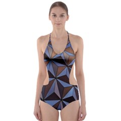 Background Geometric Shapes Cut Out One Piece Swimsuit