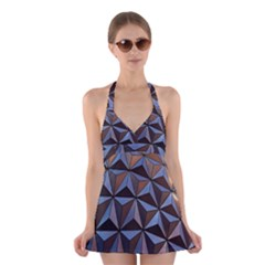 Background Geometric Shapes Halter Swimsuit Dress