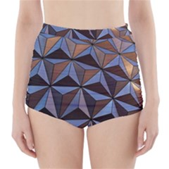 Background Geometric Shapes High-Waisted Bikini Bottoms