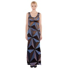 Background Geometric Shapes Maxi Thigh Split Dress