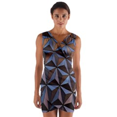 Background Geometric Shapes Wrap Front Bodycon Dress