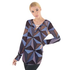 Background Geometric Shapes Women s Tie Up Tee