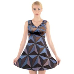 Background Geometric Shapes V Neck Sleeveless Skater Dress