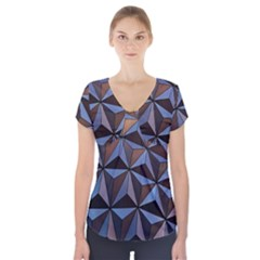 Background Geometric Shapes Short Sleeve Front Detail Top