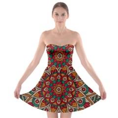 Background Metallizer Pattern Art Strapless Bra Top Dress