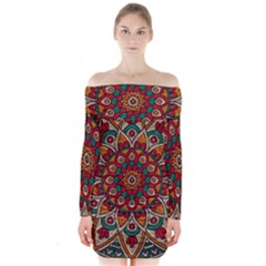 Background Metallizer Pattern Art Long Sleeve Off Shoulder Dress