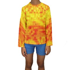 Background Image Abstract Design Kids  Long Sleeve Swimwear