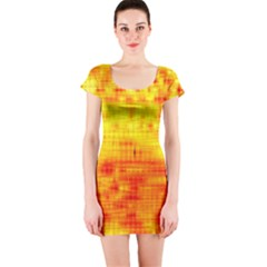 Background Image Abstract Design Short Sleeve Bodycon Dress