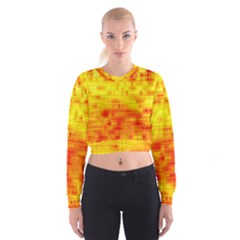 Background Image Abstract Design Women s Cropped Sweatshirt