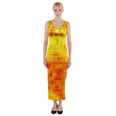 Background Image Abstract Design Fitted Maxi Dress