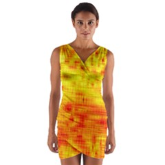 Background Image Abstract Design Wrap Front Bodycon Dress