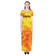 Background Image Abstract Design Short Sleeve Maxi Dress