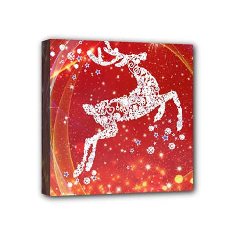 Background Reindeer Christmas Mini Canvas 4  x 4