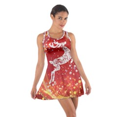Background Reindeer Christmas Cotton Racerback Dress