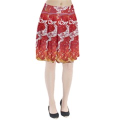 Background Reindeer Christmas Pleated Skirt