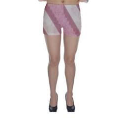 Background Pink Great Floral Design Skinny Shorts