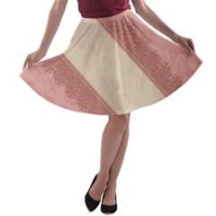 Background Pink Great Floral Design A-line Skater Skirt