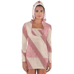 Background Pink Great Floral Design Women s Long Sleeve Hooded T-shirt