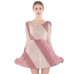 Background Pink Great Floral Design Long Sleeve Velvet Skater Dress