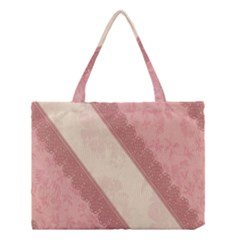 Background Pink Great Floral Design Medium Tote Bag