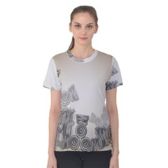 Background Retro Abstract Pattern Women s Cotton Tee