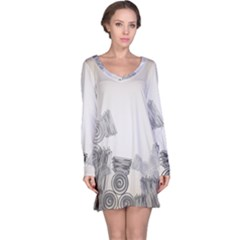 Background Retro Abstract Pattern Long Sleeve Nightdress