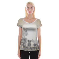 Background Retro Abstract Pattern Women s Cap Sleeve Top