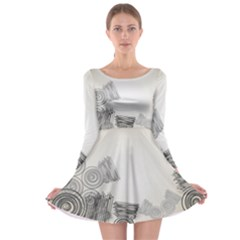 Background Retro Abstract Pattern Long Sleeve Skater Dress