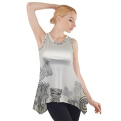 Background Retro Abstract Pattern Side Drop Tank Tunic