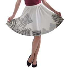 Background Retro Abstract Pattern A Line Skater Skirt