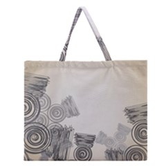 Background Retro Abstract Pattern Zipper Large Tote Bag