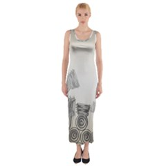 Background Retro Abstract Pattern Fitted Maxi Dress