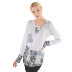 Background Retro Abstract Pattern Women s Tie Up Tee