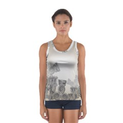 Background Retro Abstract Pattern Women s Sport Tank Top