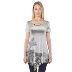 Background Retro Abstract Pattern Short Sleeve Tunic