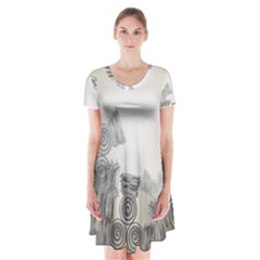 Background Retro Abstract Pattern Short Sleeve V-neck Flare Dress