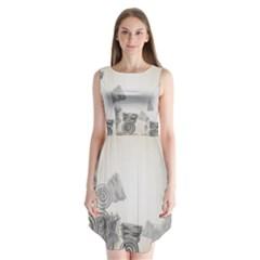 Background Retro Abstract Pattern Sleeveless Chiffon Dress