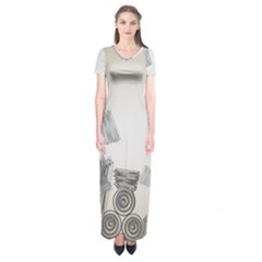 Background Retro Abstract Pattern Short Sleeve Maxi Dress