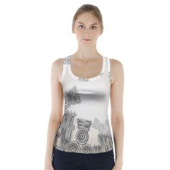 Background Retro Abstract Pattern Racer Back Sports Top