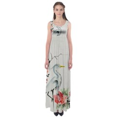 Background Scrapbook Paper Asian Empire Waist Maxi Dress