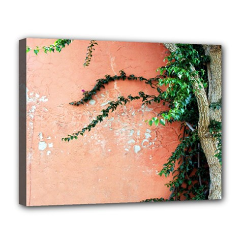 Background Stone Wall Pink Tree Canvas 14  x 11