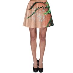 Background Stone Wall Pink Tree Skater Skirt